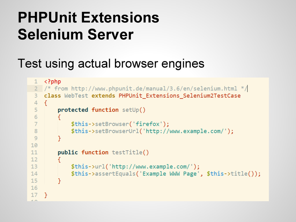 PHPUnit Extensions Selenium Server Test using a...