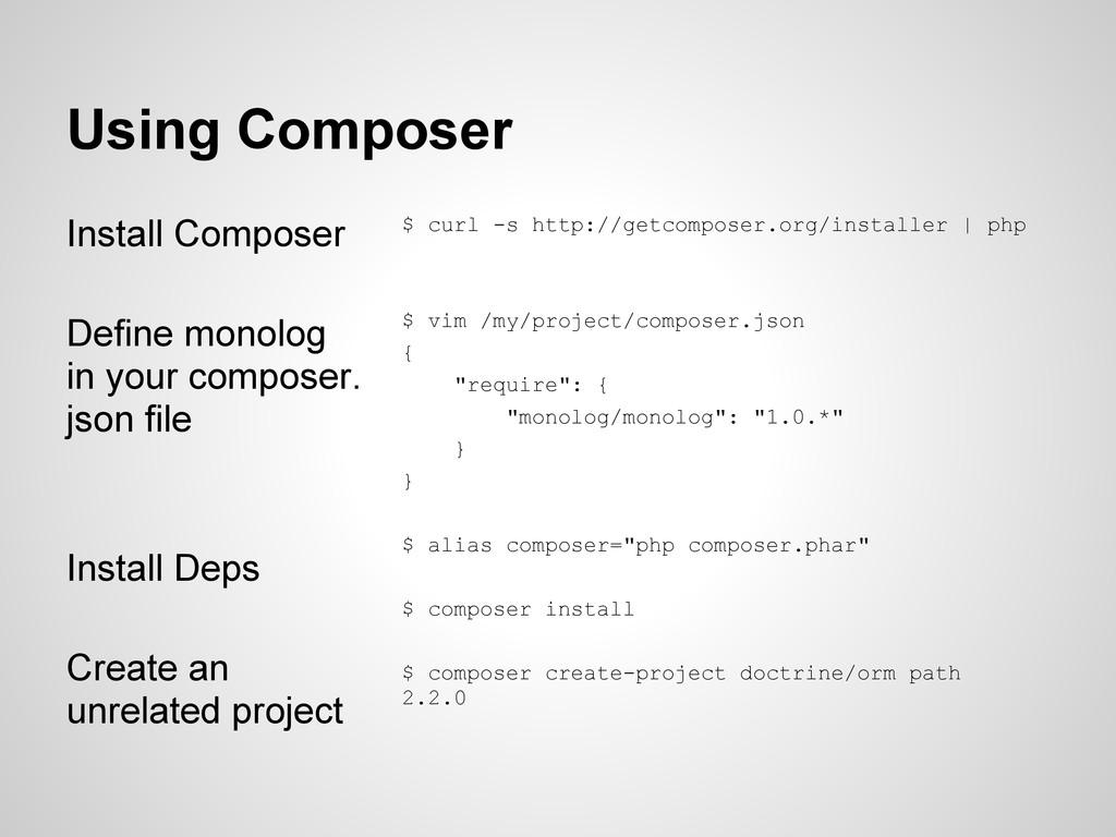 Using Composer Install Composer Define monolog ...