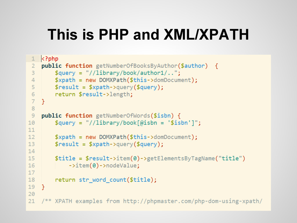 This is PHP and XML/XPATH