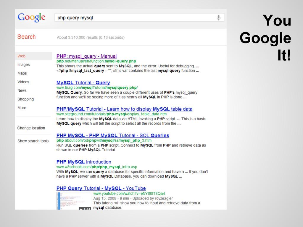 You Google It!