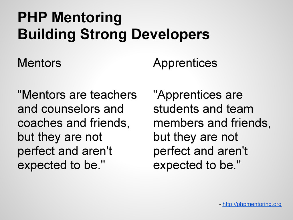 PHP Mentoring Building Strong Developers Mentor...