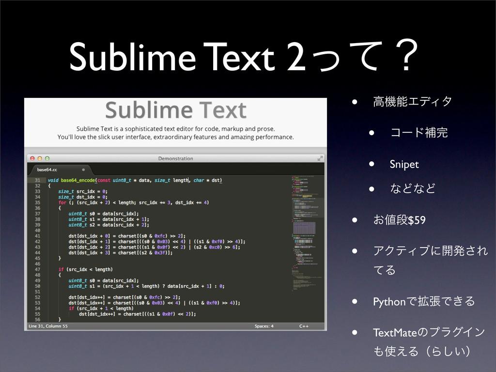 Sublime Text 2ͬͯʁ • ߴػΤσΟλ • ίʔυิ • Snipet • ...