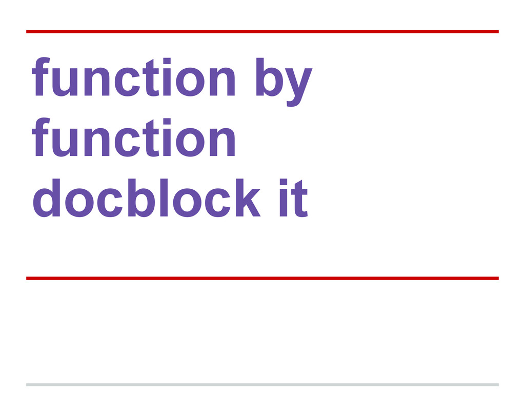 function by function docblock it