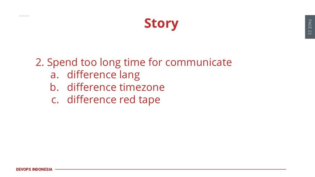 PAGE 23 DEVOPS INDONESIA 2. Spend too long time...