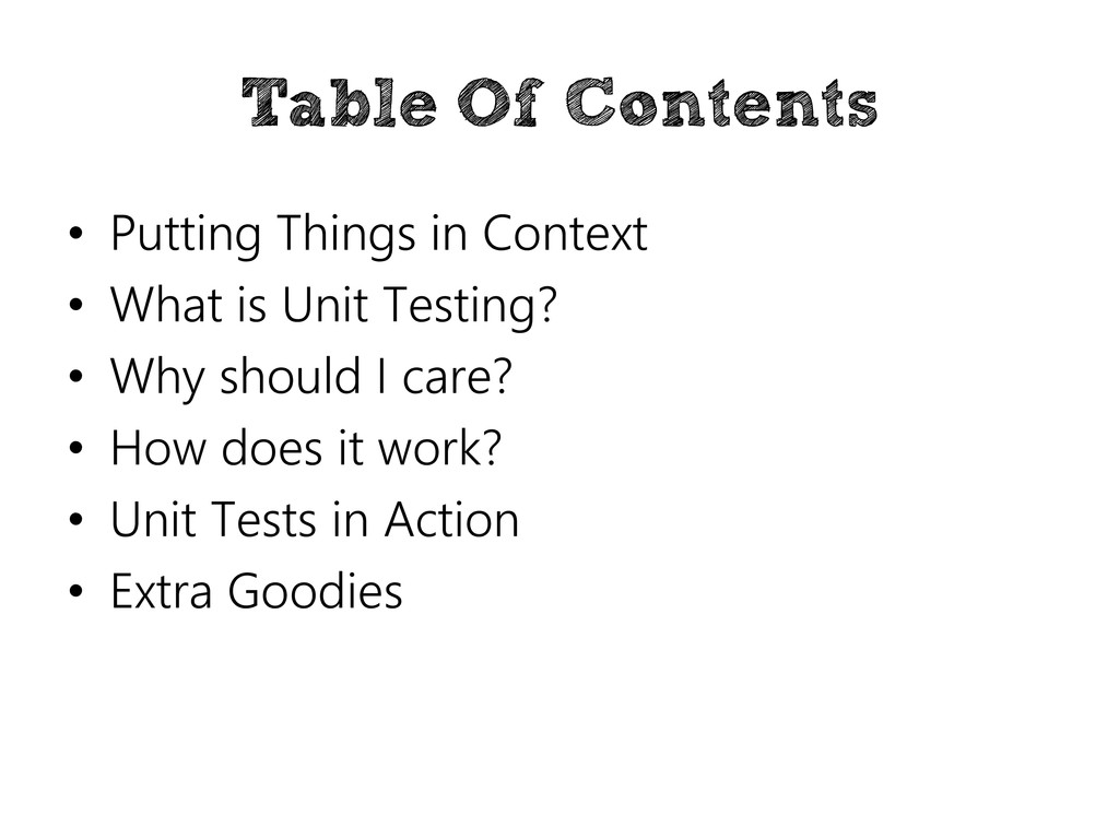 Table Of Contents • Putting Things in Context •...