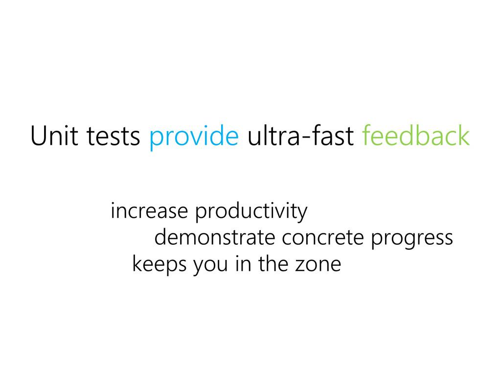 Unit tests provide ultra-fast feedback demonstr...