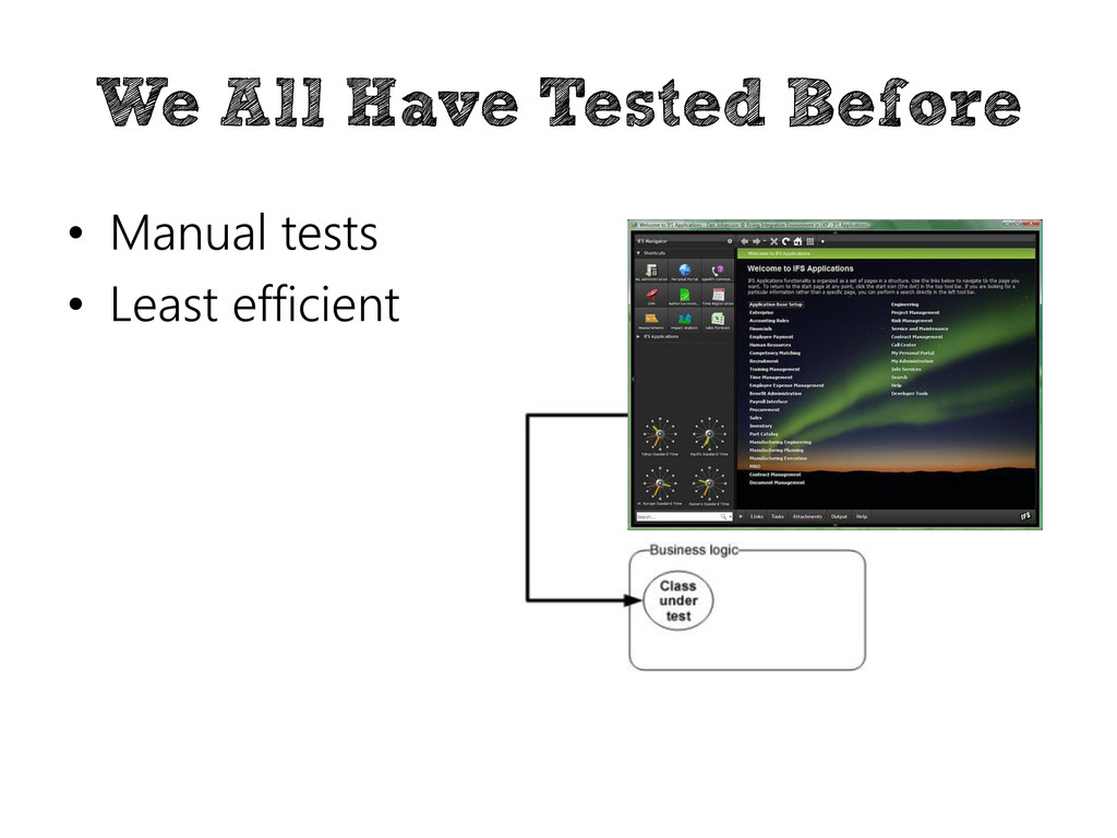 We All Have Tested Before • Manual tests • Leas...