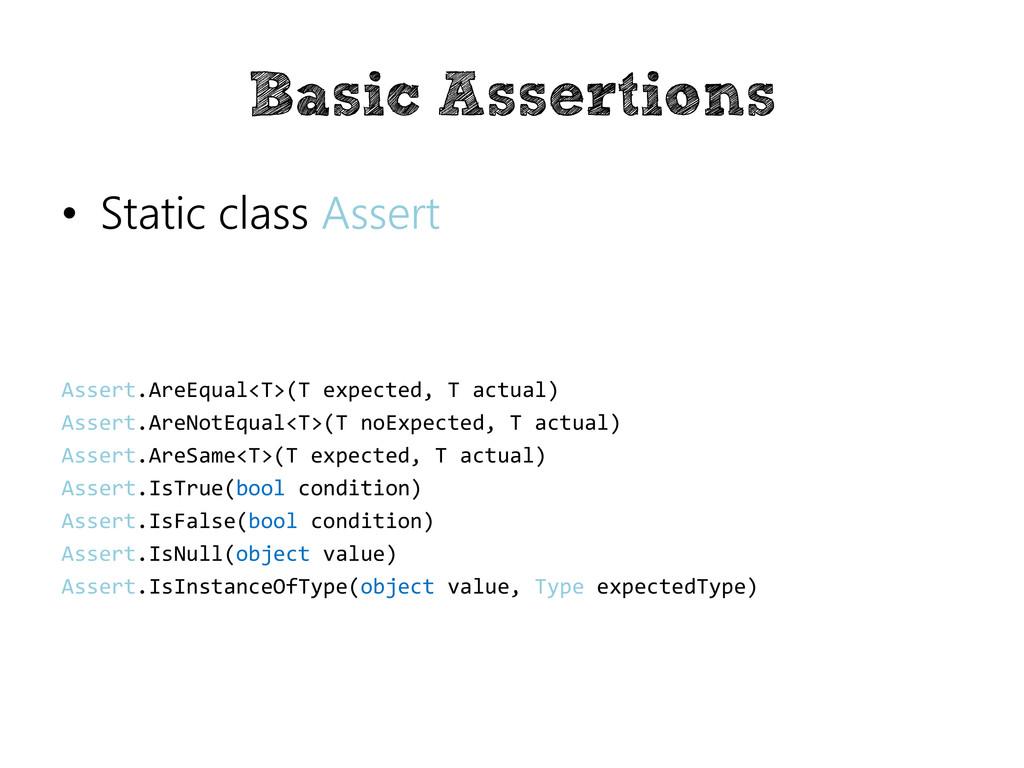 Basic Assertions • Static class Assert Assert.A...