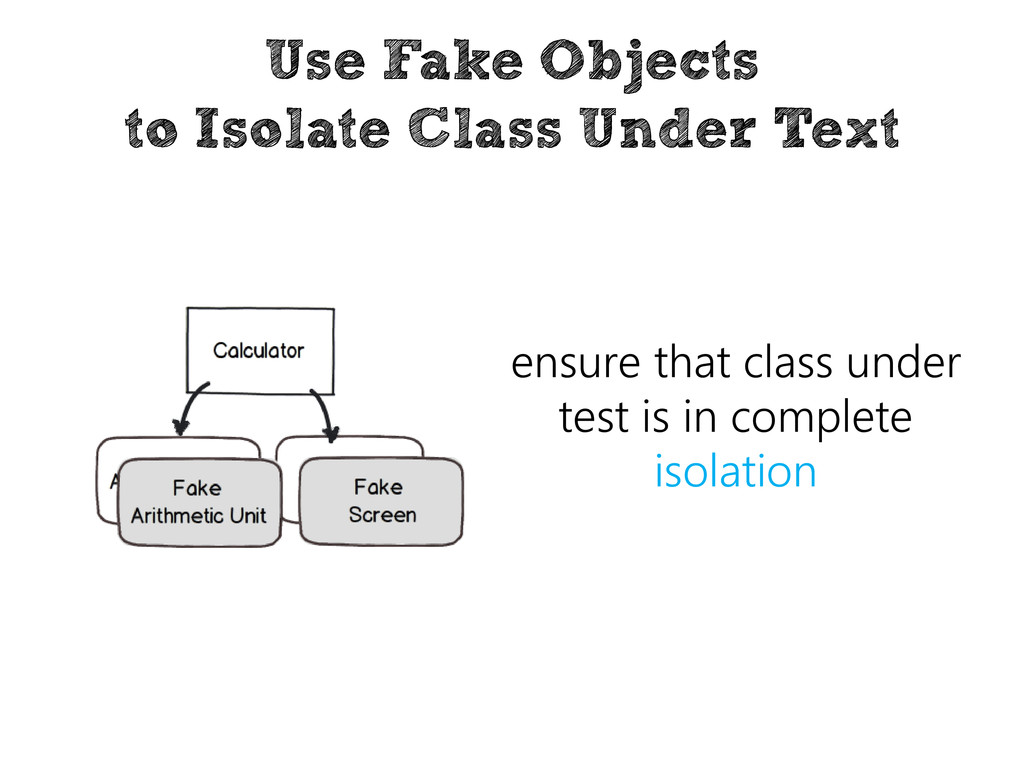 Use Fake Objects to Isolate Class Under Text en...