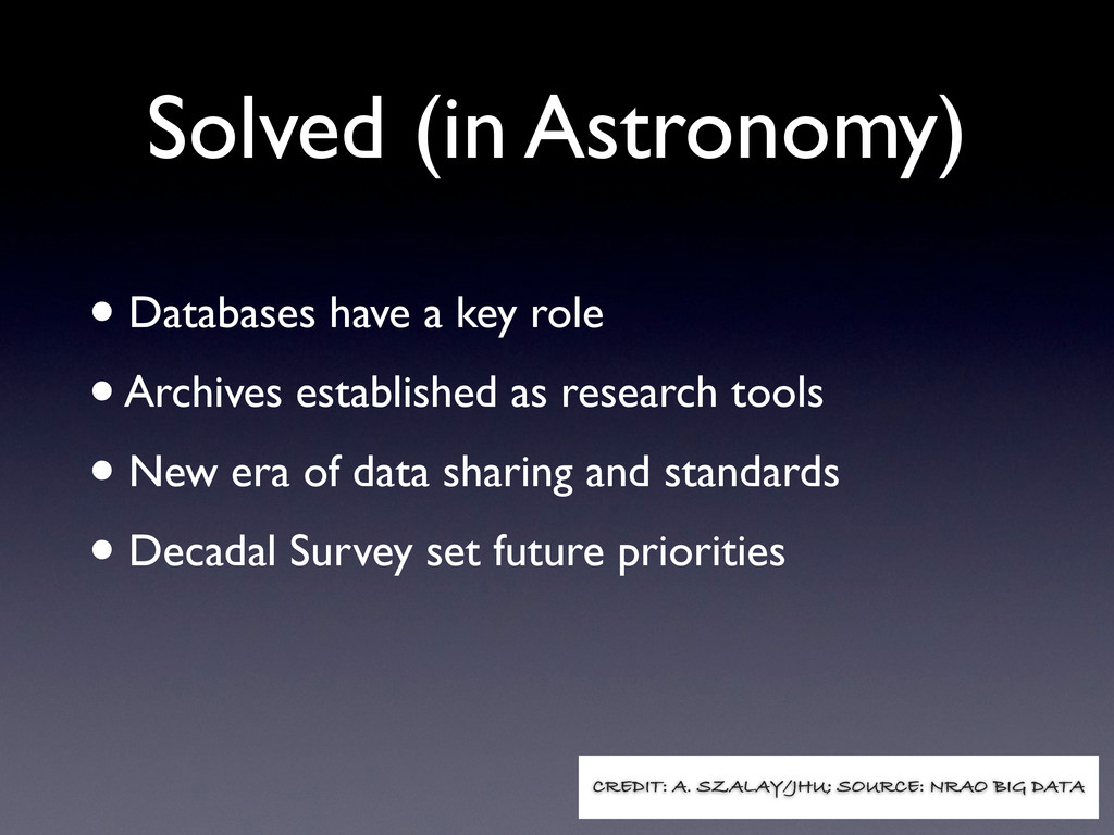 Solved (in Astronomy) • Databases have a key ro...