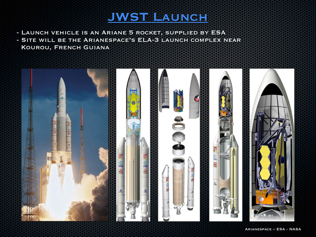 JWST Launch - Launch vehicle is an Ariane 5 roc...