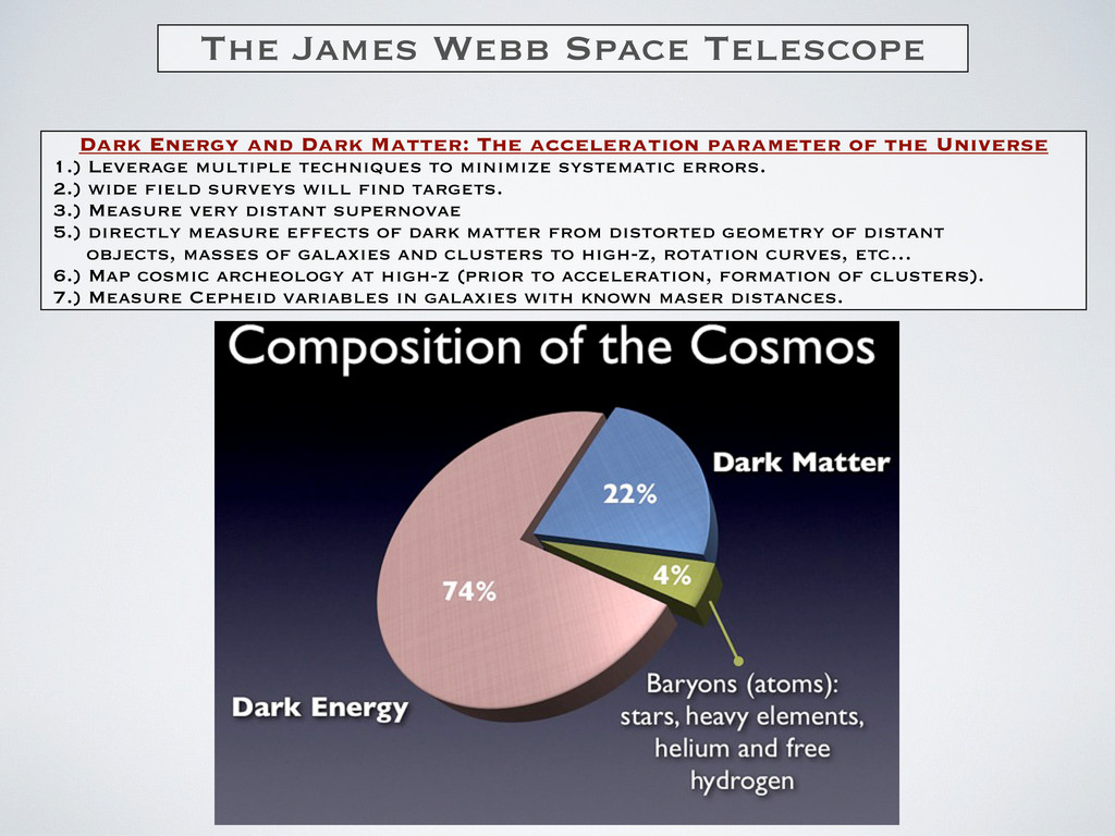 The James Webb Space Telescope Dark Energy and ...