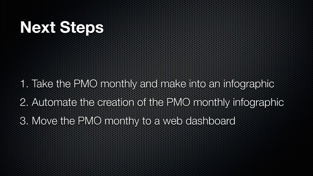 Next Steps 1. Take the PMO monthly and make int...