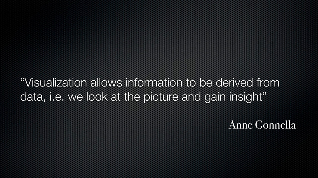 """Visualization allows information to be derived..."