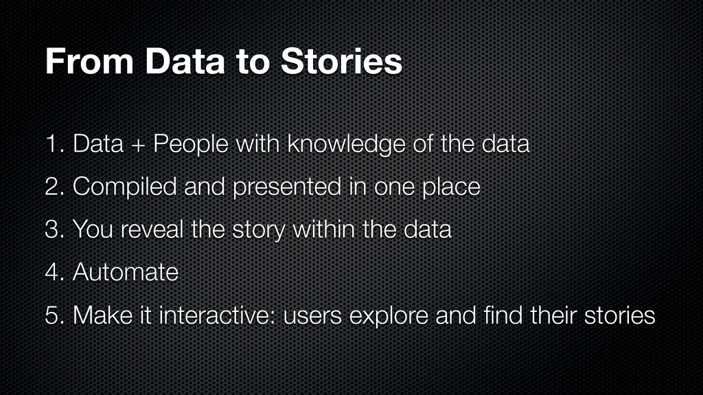 From Data to Stories 1. Data + People with know...