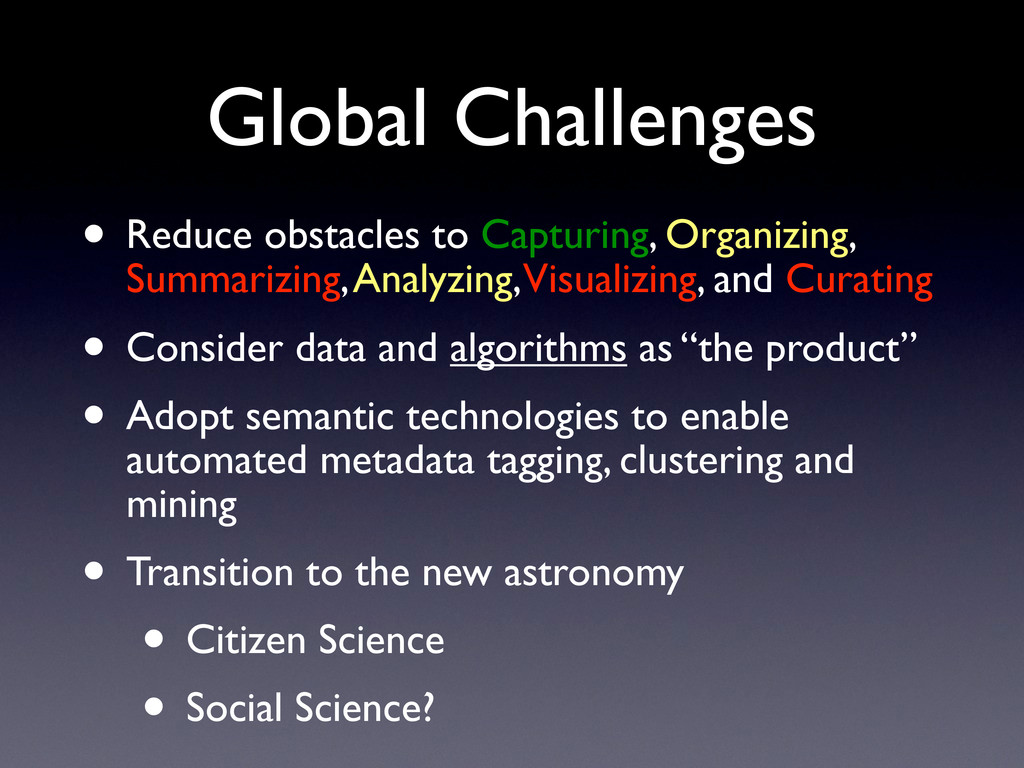 Global Challenges • Reduce obstacles to Capturi...