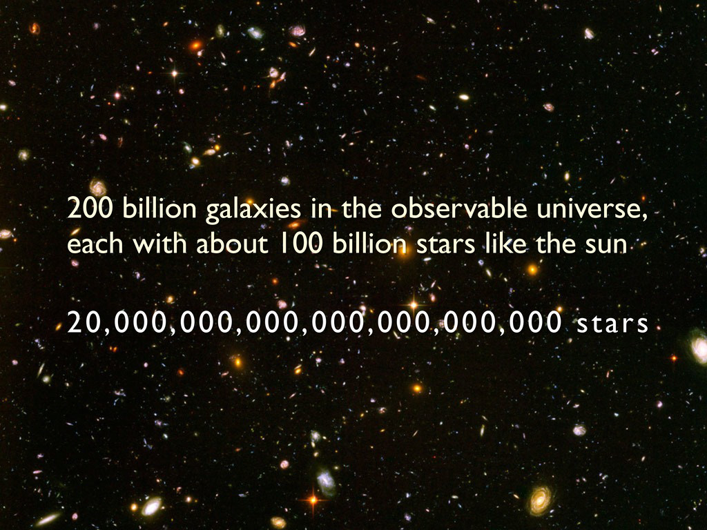 200 billion galaxies in the observable universe...