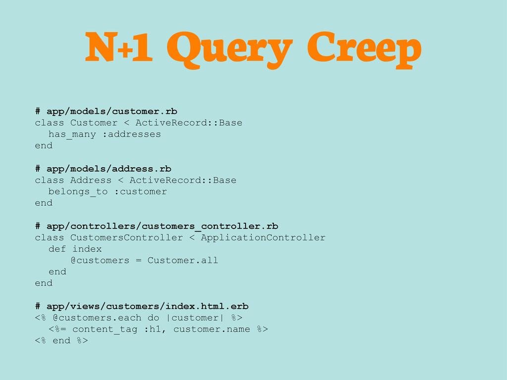 N+1 Query Creep # app/models/customer.rb class ...