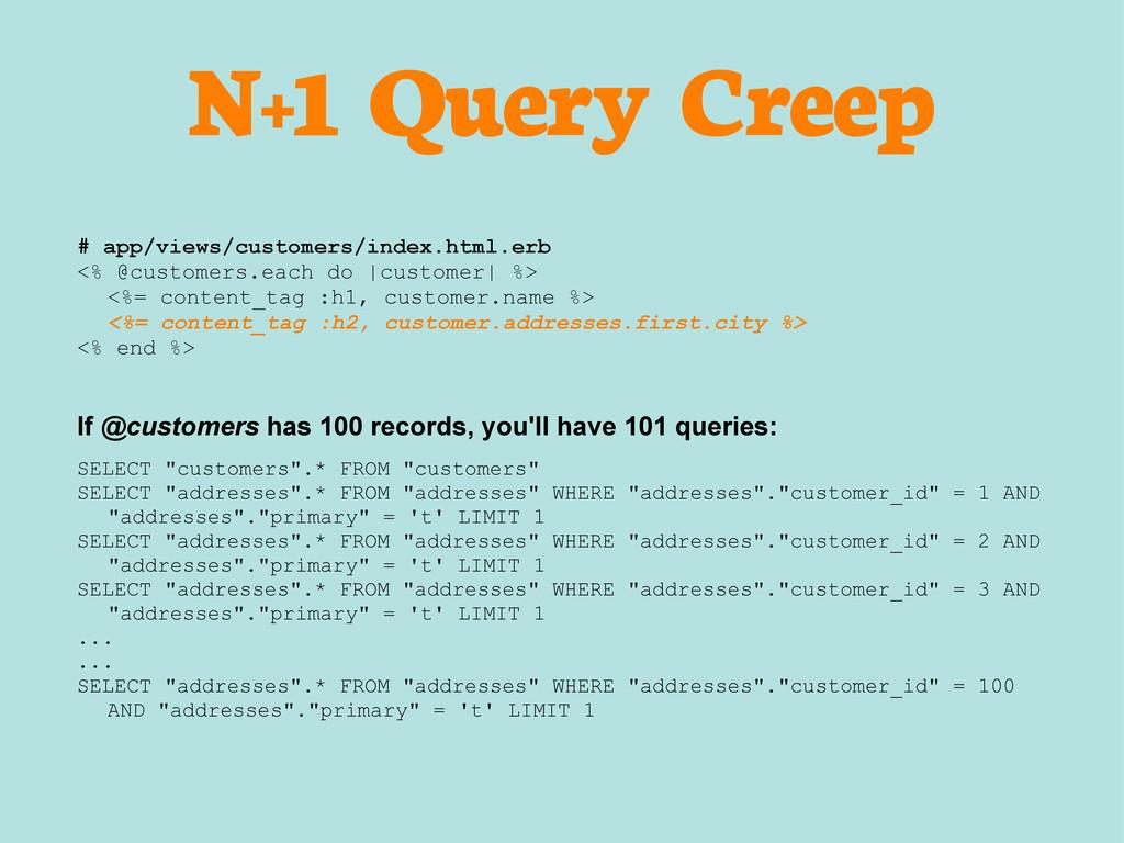 N+1 Query Creep # app/views/customers/index.htm...