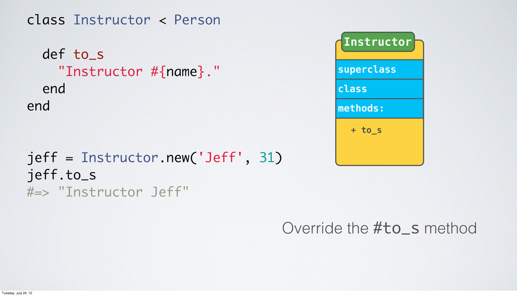 Override the #to_s method superclass class meth...
