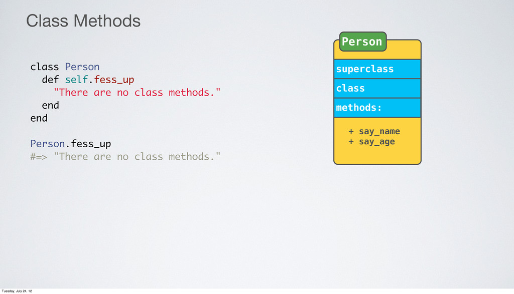 """Class Methods class Person def self.fess_up """"Th..."""