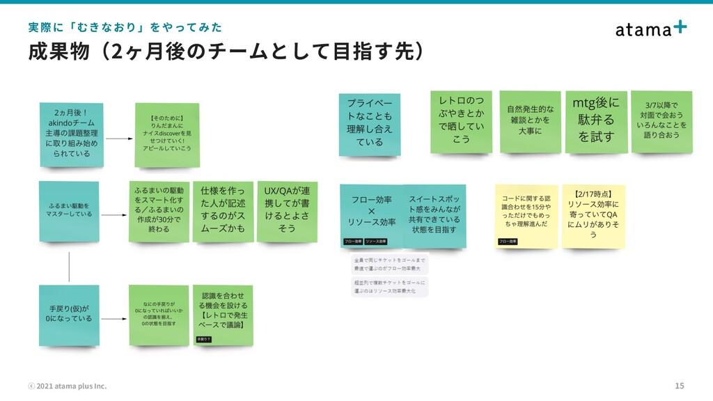 ⓒ 2021 atama plus Inc. 成果物(2ヶ⽉後のチームとして⽬指す先) 15 ...