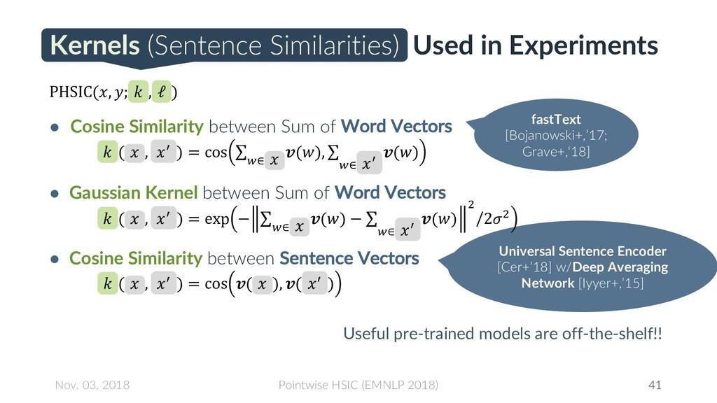 Kernels (Sentence Similarities) Used in Experim...