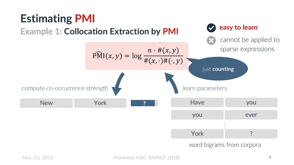 Estimating PMI easy to learn cannot be applied ...