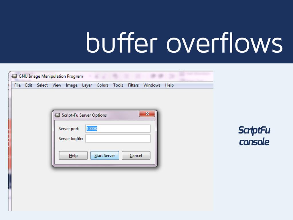buffer overflows ScriptFu console