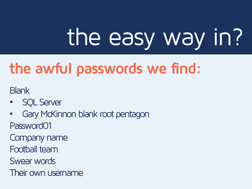 the easy way in? the awful passwords we find: B...