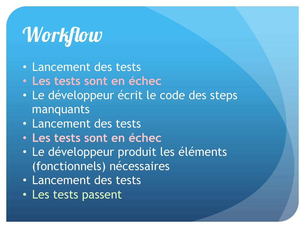 W r w • Lancement des tests • Les tests sont ...