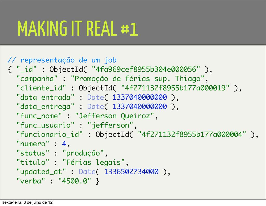 MAKING IT REAL #1 // representação de um job { ...