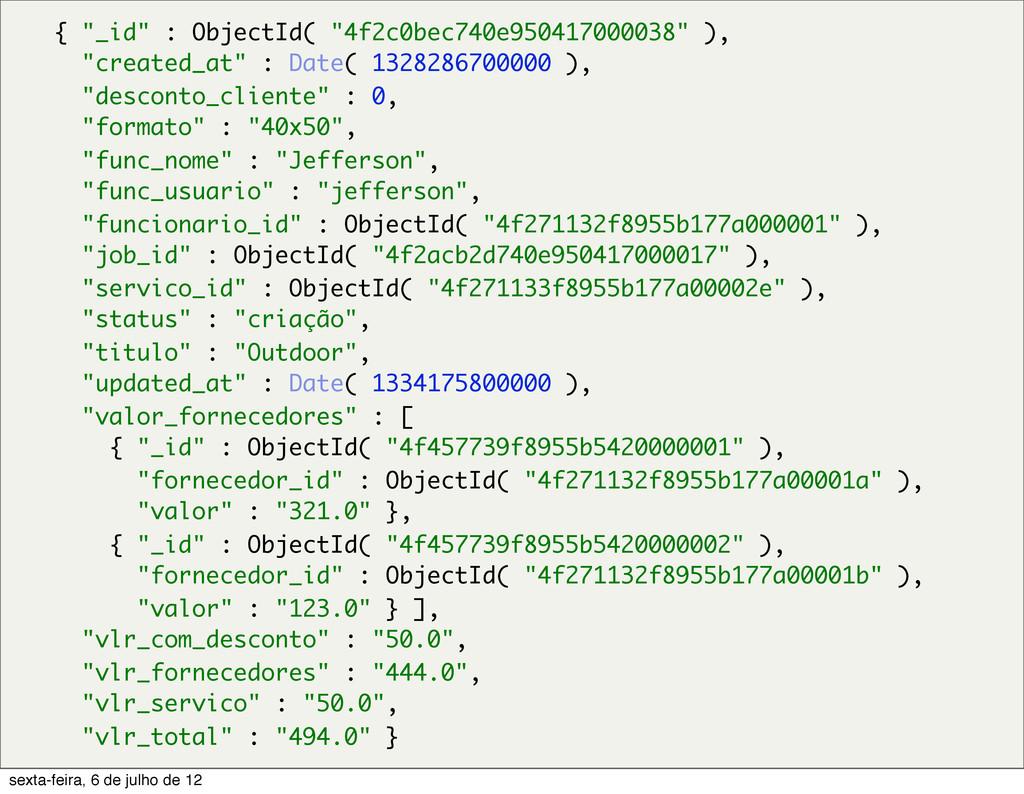 """{ """"_id"""" : ObjectId( """"4f2c0bec740e950417000038"""" ..."""
