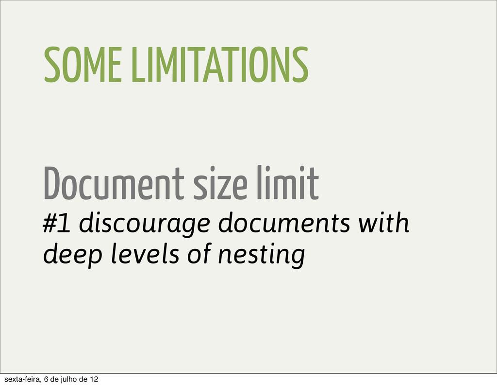 SOME LIMITATIONS Document size limit #1 discour...