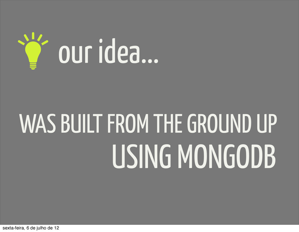 our idea... WAS BUILT FROM THE GROUND UP USING ...