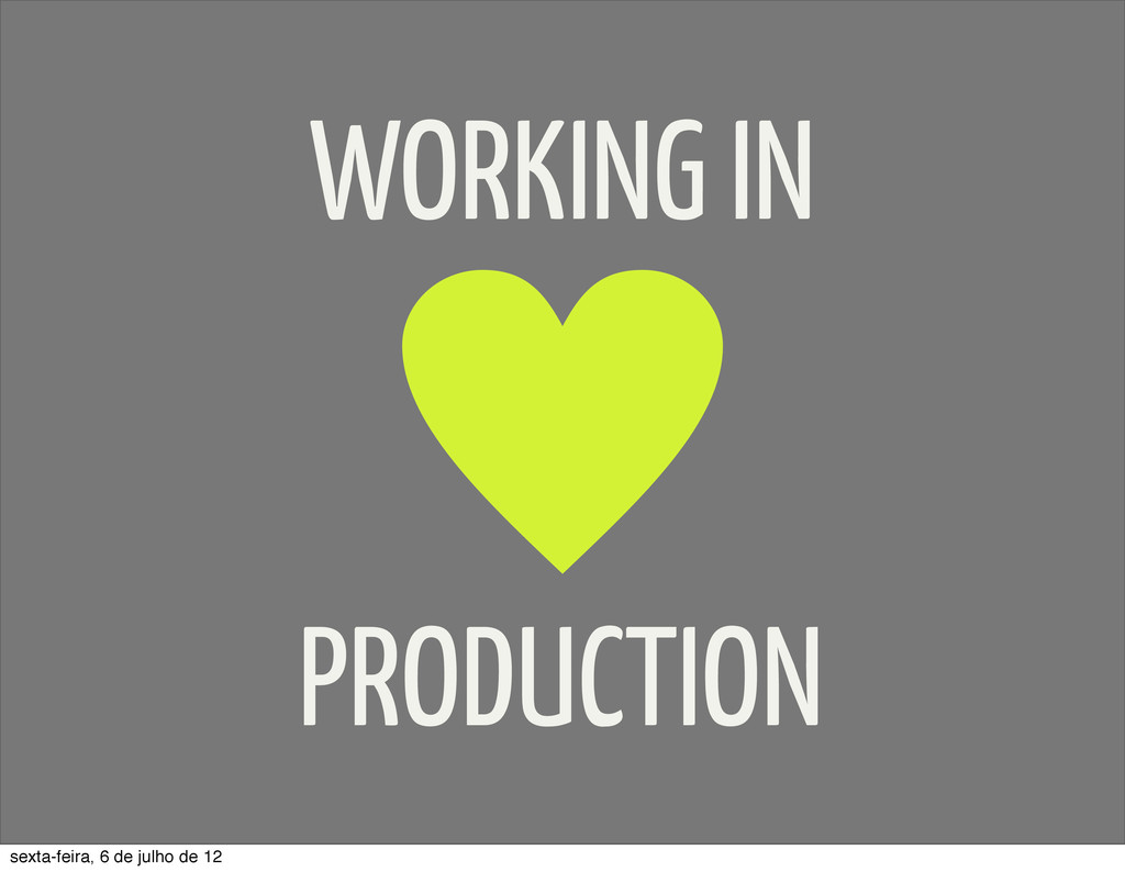WORKING IN PRODUCTION sexta-feira, 6 de julho d...