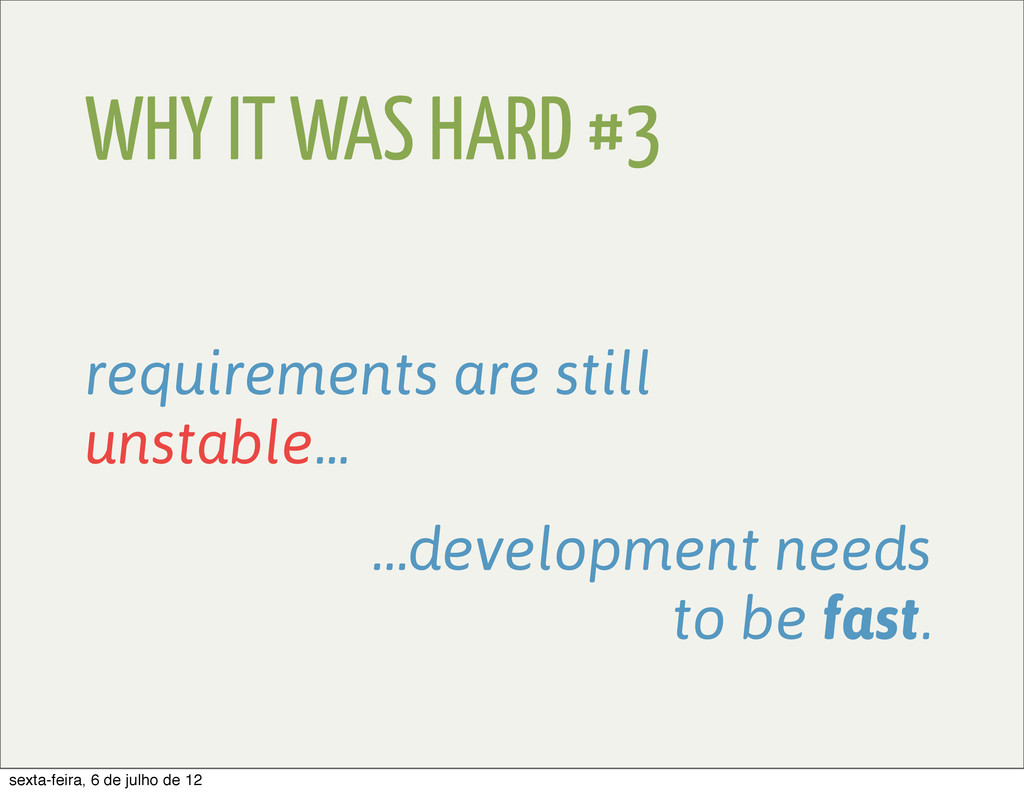 WHY IT WAS HARD #3 requirements are still unsta...