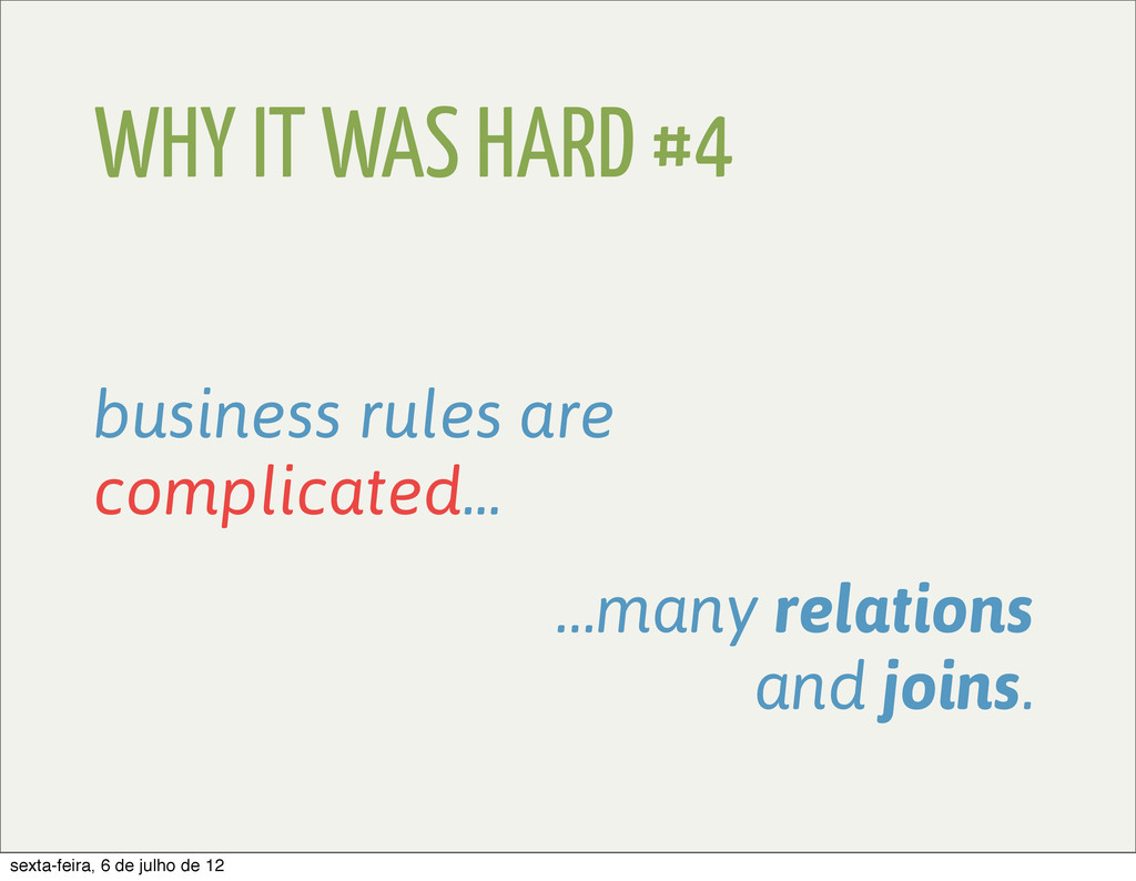 WHY IT WAS HARD #4 business rules are complicat...