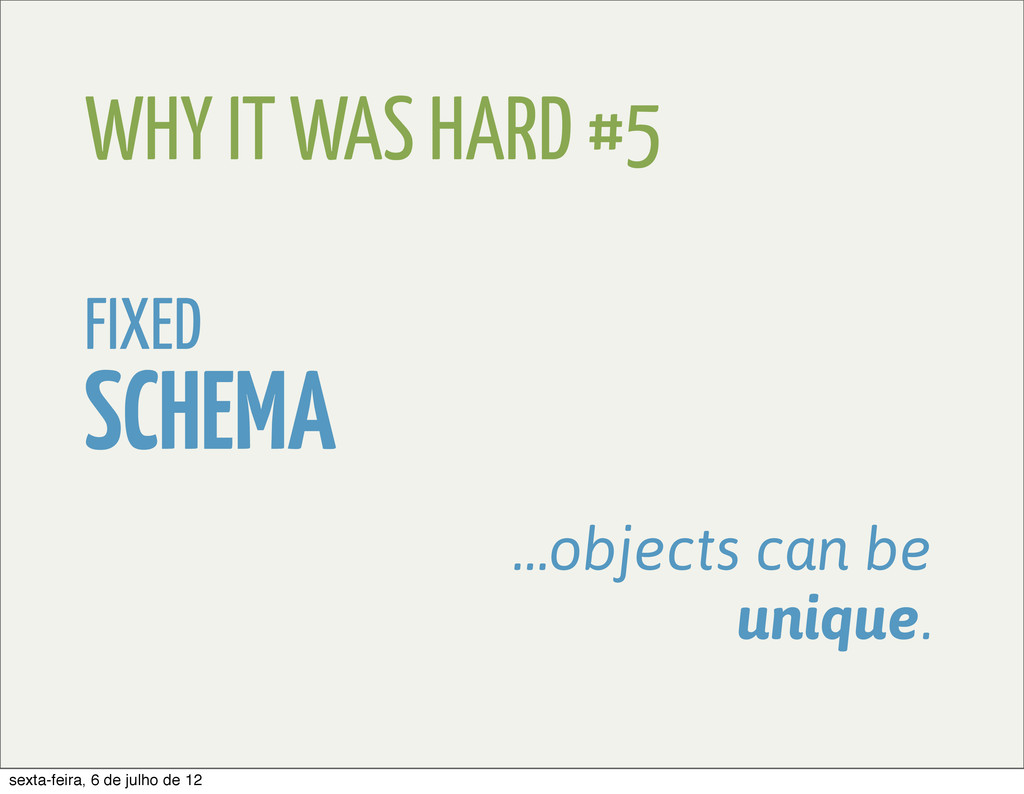 WHY IT WAS HARD #5 FIXED SCHEMA …objects can be...