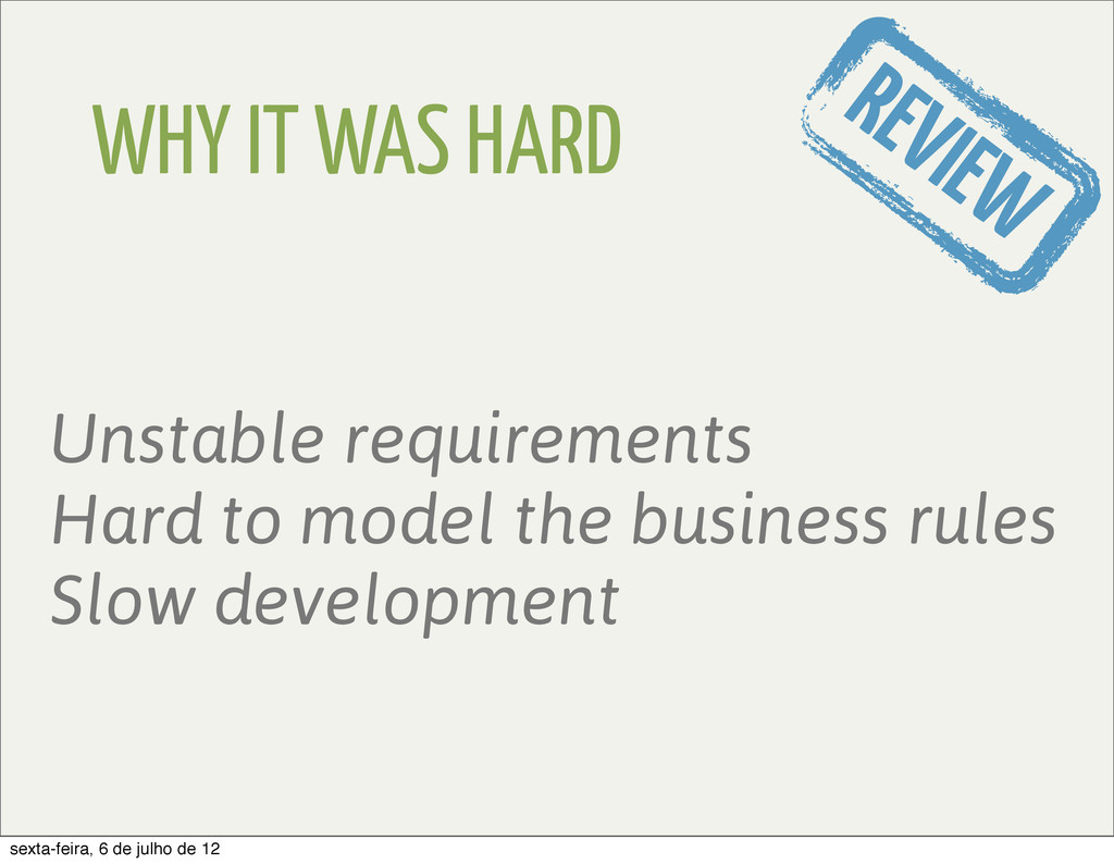 REVIEW Unstable requirements Hard to model the ...
