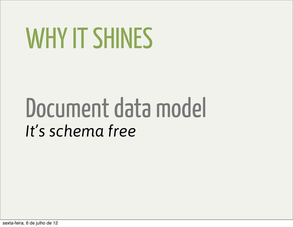 WHY IT SHINES Document data model It's schema f...