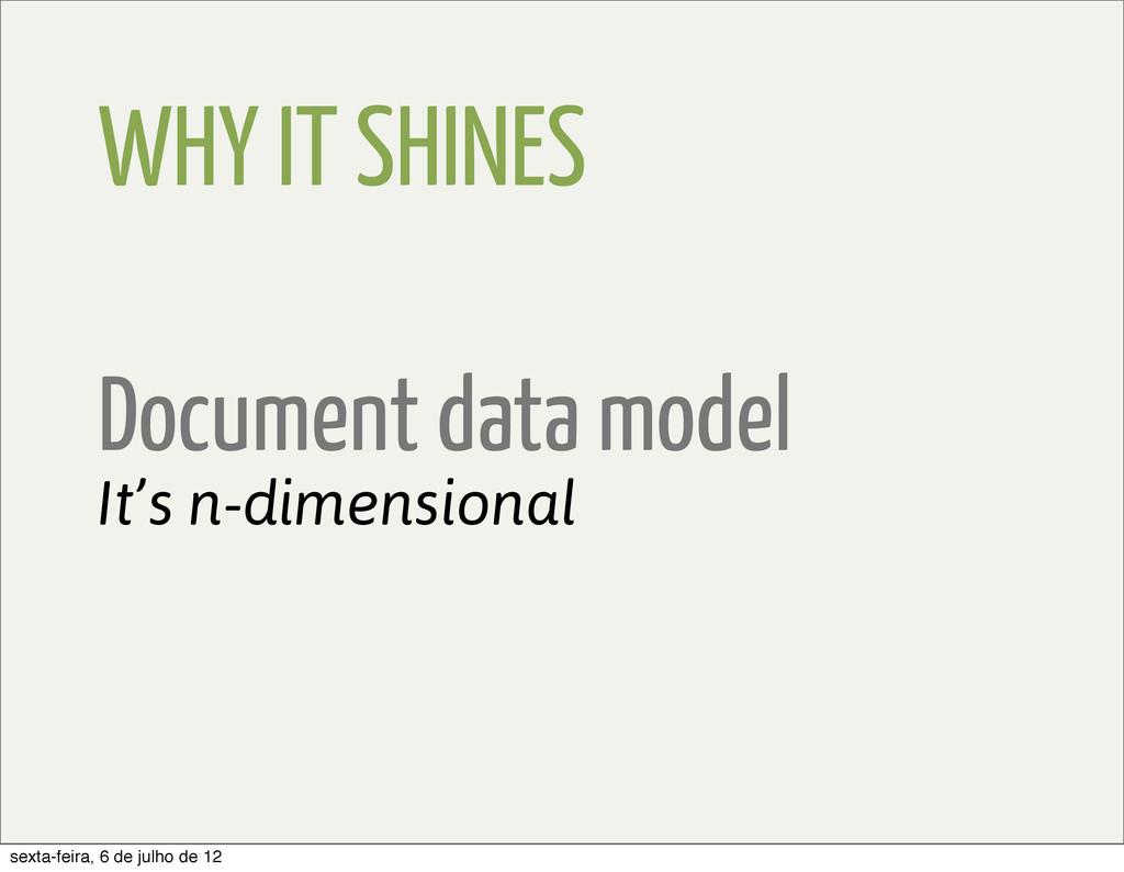 WHY IT SHINES Document data model It's n-dimens...