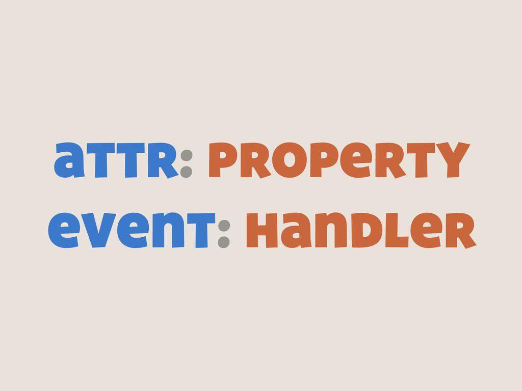 attr: property event: handler