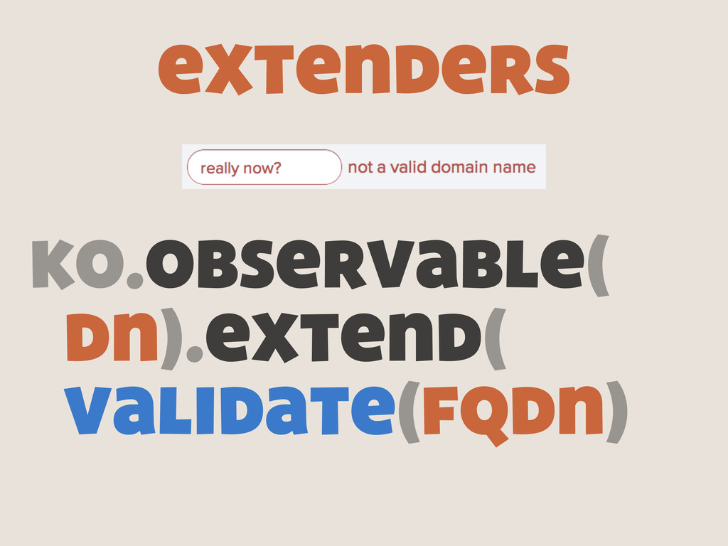 extenders ko.observable( dn).extend( validate(f...