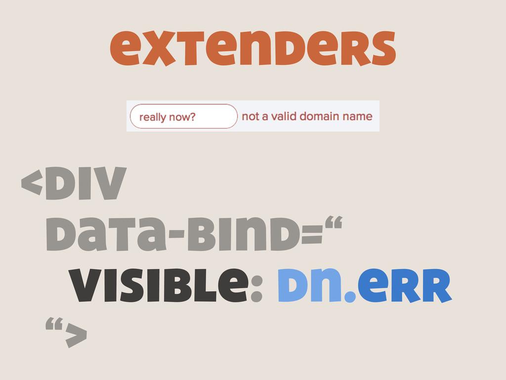 "extenders <div data-bind="" visible: dn.err "">"