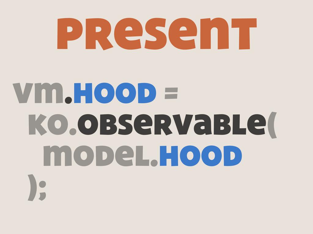 vm.hood = ko.observable( model.hood ); present