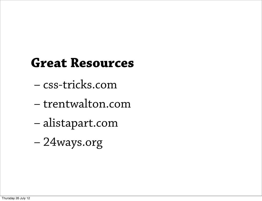 – css-tricks.com – trentwalton.com – alistapart...