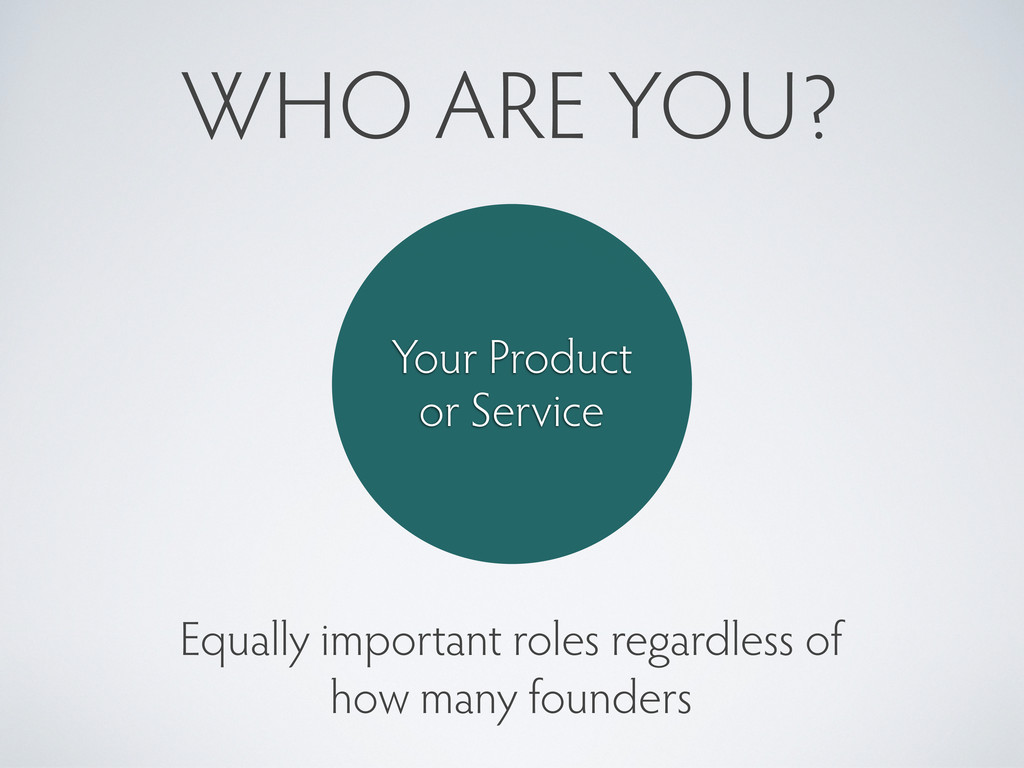 WHO ARE YOU? Your Product or Service Equally im...