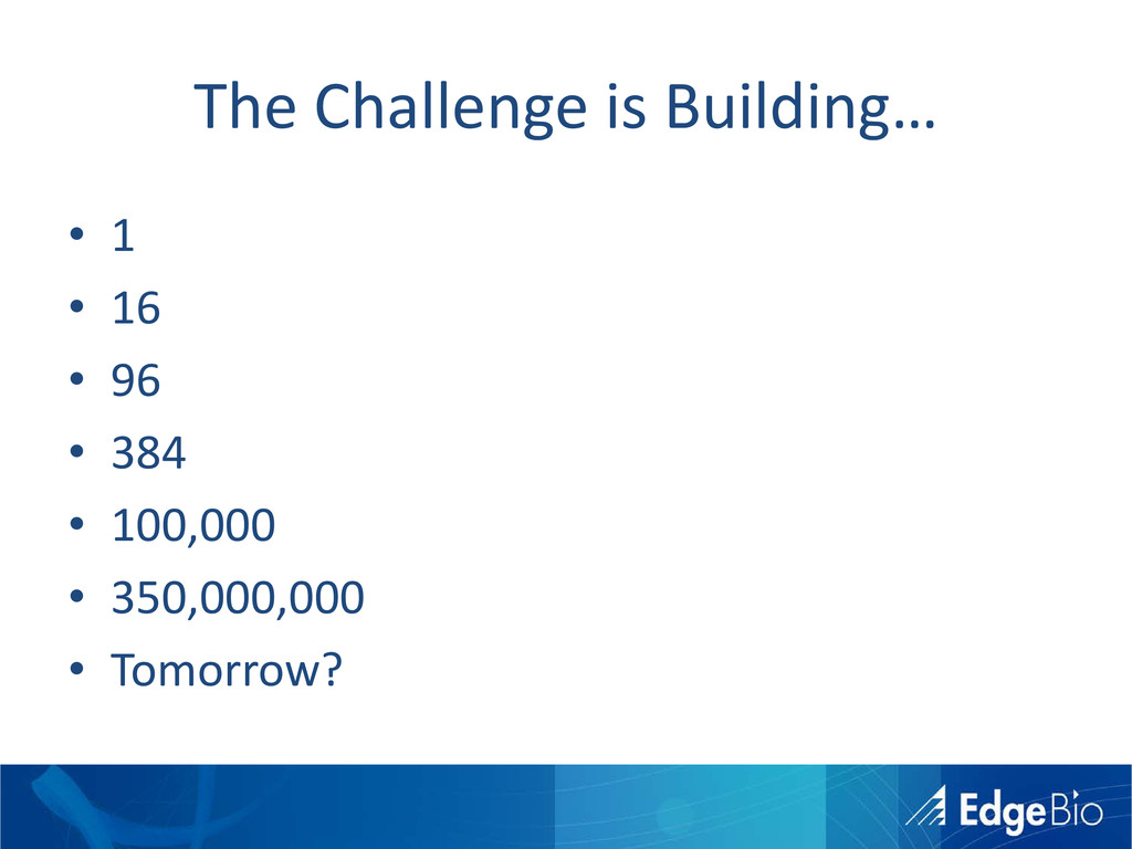The Challenge is Building… • 1 • 16 • 96 • 384 ...