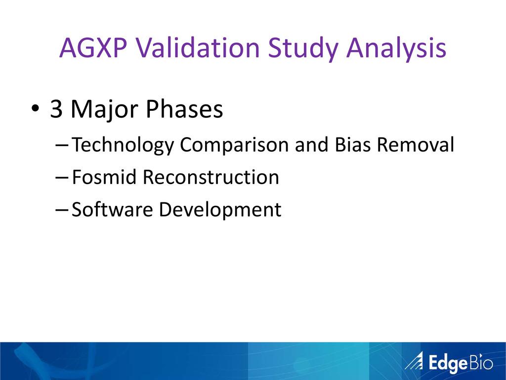 AGXP Validation Study Analysis • 3 Major Phases...